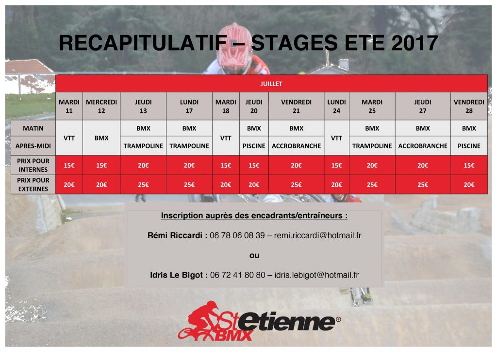 STAGES ETE 2017 ST ETIENNE BMX