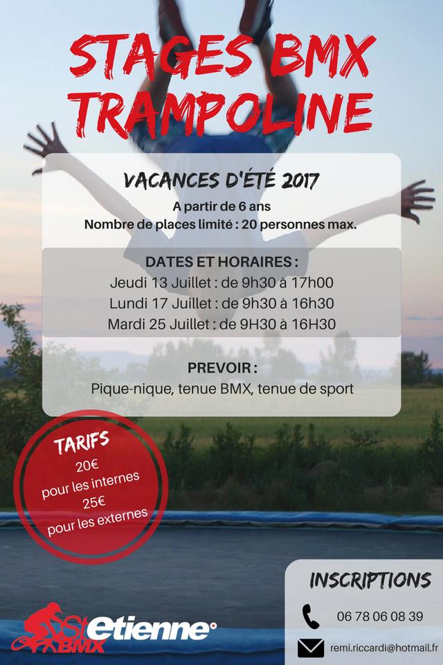 STAGES BMX TRAMPOLINE ETE 2017 ST ETIENNE BMX