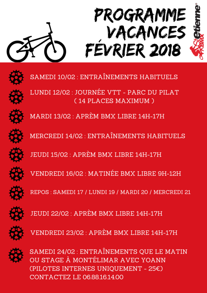 PROGRAMME BMX VACANCES FEVRIER 2018