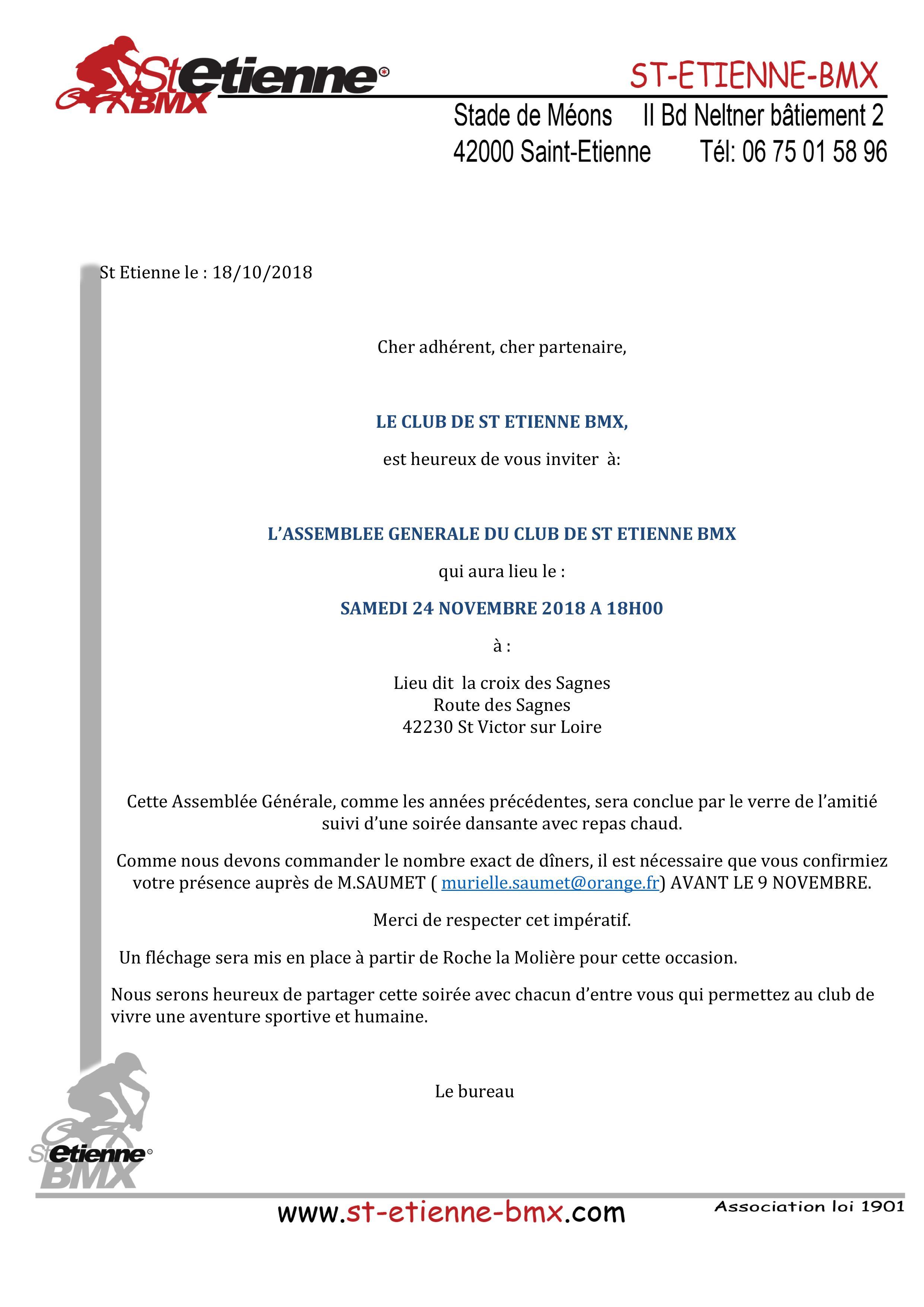 Assemblée générale saint etienne bmx 2018